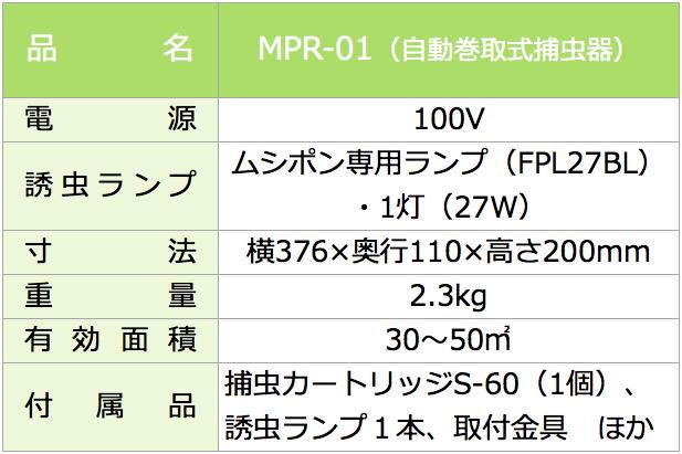 自動巻取式捕虫器 MPR-01 仕様